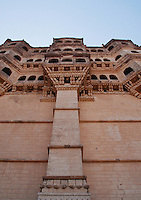 A section of the elaborate architecture of the Mehrangarh Fort, Jodhpur, Rajasthan, India