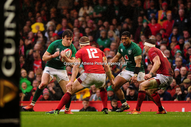 Pictured: Jacob Stockdale of Ireland in action during the Guinness six nations match between Wales and Ireland at the Principality Stadium, Cardiff, Wales, UK.<br /> Saturday 16 March 2019