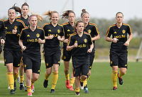 20180304 - LARNACA , CYPRUS :  Belgian team with Jana Coryn , Sarah Wijnants and Davina Philtjens (r) pictured during a Matchday -1 training from The Belgian Red Flames prior to their game against Austria , on Sunday 4 March 2018 at the Alpha Sports Grounds in Larnaca , Cyprus . This will be the third game in group B for Belgium during the Cyprus Womens Cup , a prestigious women soccer tournament as a preparation on the World Cup 2019 qualification duels. PHOTO SPORTPIX.BE | DAVID CATRY