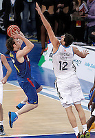 Real Madrid's Nikola Mirotic (r) and FC Barcelona Regal's Marcelinho Huertas during Spanish Basketball King's Cup match.February 07,2013. (ALTERPHOTOS/Acero) /Nortephoto