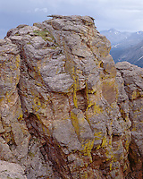 Lichen-covered rock formations at Rock Cut below Longs Peak; Rocky Mountain National Park, CO