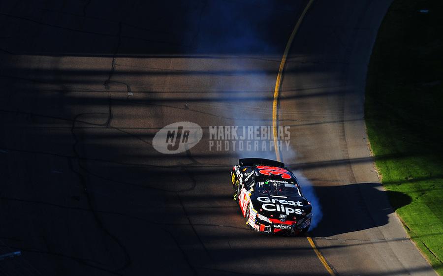Nov. 8, 2008; Avondale, AZ, USA; NASCAR Nationwide Series driver Jason Leffler during the Hefty Odor Block 200 at Phoenix International Raceway. Mandatory Credit: Mark J. Rebilas-