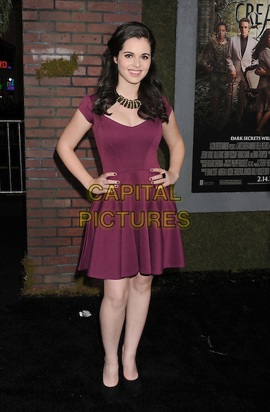 "Vanessa Marano.arriving at the Los Angeles premiere of ""Beautiful Creatures"" at TCL Chinese Theatre in Hollywood, California, USA, .February 6th, 2013..full length purple dress hands on hips .CAP/ROT/TM.©Tony Michaels/Roth Stock/Capital Pictures"
