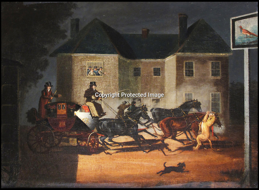 BNPS.co.uk (01202 558833)<br /> Picture: collect<br /> <br /> An extraordinary painting recording an attack by an escaped lion on the Royal Mail coach nearly 200 years ago.  <br /> <br /> The last remaining Royal Mail coach that was once attacked by an escaped LION has emerged for sale for &pound;70,000.<br /> <br /> The 200 year old horse-drawn carriage was known as 'Quicksilver' because it was the fastest ever carriage in the land. It was attacked by an escaped lion from a travelling menagerie near Salisbury in 1816.<br /> <br /> The red and black wrought iron wagon harks back to the golden age of the Royal Mail is being sold by auctioneers Bonhams.