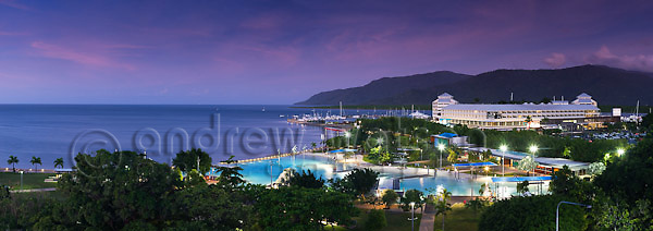 View across the Esplanade Lagoon and Pier Marketplace.  Cairns, Queensland, AUSTRALIA