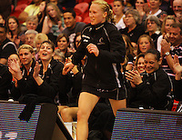 Silver Ferns (including, from left: Casey Williams, Irene Van Dyk and Sheryl Scanlan) applaud Laura Langman for being awarded player of the tournament during the New World International Netball Series match between the NZ Silver Ferns and England at Arena Manawatu, Palmerston North, New Zealand on Wednesday, 18 October 2008. Photo: Dave Lintott / lintottphoto.co.nz