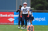July 26, 2018: New England Patriots wide receiver Chris Hogan (15) warms up at the New England Patriots training camp held on the practice fields at Gillette Stadium, in Foxborough, Massachusetts. Eric Canha/CSM
