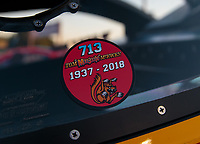 Jun 15, 2018; Bristol, TN, USA; Detailed view of an in memory sticker of former NHRA funny car driver Tom McEwen during qualifying for the Thunder Valley Nationals at Bristol Dragway. Mandatory Credit: Mark J. Rebilas-USA TODAY Sports