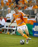 Houston Dynamo forward Nate Jaqua (21) advances the ball. The Houston Dynamo defeated Real Salt Lake 4-3 during an MLS regular season game at Robertson Stadium in Houston, TX on September 8, 2007.