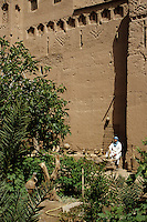 Near Skoura, Morocco - Interior Courtyard of the Kasbah Ameridhil, with Caretaker Aziz.