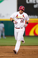 Matthew Adams (25) of the Springfield Cardinals rounds the bases after hitting a home run during a game against the Tulsa Drillers on April 29, 2011 at Hammons Field in Springfield, Missouri.  Photo By David Welker/Four Seam Images.