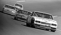 Dale Earnhardt leads a pack of cars off of turn 4 at Daytona during the 1987 Busch Clash . (Photo by Brian Cleary)