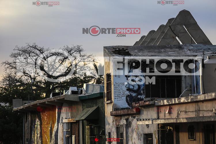 Murales y pinturas de la calle No reeleccion en la colonia Centro de Hermosillo.