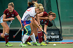 GER - Mannheim, Germany, September 18: During the women hockey match between Mannheimer HC (white) and UHC Hamburg (purple) on September 18, 2016 at Mannheimer HC in Mannheim, Germany. Final score 3-2 (HT 2-1). (Photo by Dirk Markgraf / www.265-images.com) *** Local caption *** Lydia Haase #12 of Mannheimer HC tries to score<br /> <br /> @mhc_1907 @dhb_hockey @adidashockey @hockeykiosk @duravit @1.damenmhc @lydiahaase12 @char.lotje14