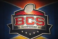 Jan 10, 2011; Glendale, AZ, USA; Detailed view of a BCS game logo during the game between the Oregon Ducks against the Auburn Tigers during the 2011 BCS National Championship game at University of Phoenix Stadium. The Tigers defeated the Ducks 22-19. Mandatory Credit: Mark J. Rebilas-
