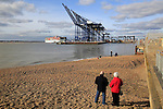 People watch arrival of Cosco shipping line container ship, Port of Felixstowe, Suffolk, England, UK