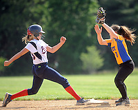 Central Bucks East's Alyssa Carton #29 steps back to second base as Downingtown West's Nina Gallagher #1 attempts to tag her in the second inning Wednesday May 25, 2016 at Central Bucks East in Buckingham, Pennsylvania. (Photo by William Thomas Cain)