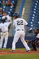 Tampa Yankees third baseman Abiatal Avelino (22) at bat during a game against the Fort Myers Miracle on April 12, 2017 at George M. Steinbrenner Field in Tampa, Florida.  Tampa defeated Fort Myers 3-2.  (Mike Janes/Four Seam Images)