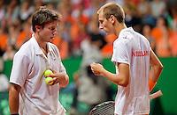 19-9-09, Netherlands,  Maastricht, Tennis, Daviscup Netherlands-France, Dubbles Thiemo de Bakker en Igor Sijsling (l)