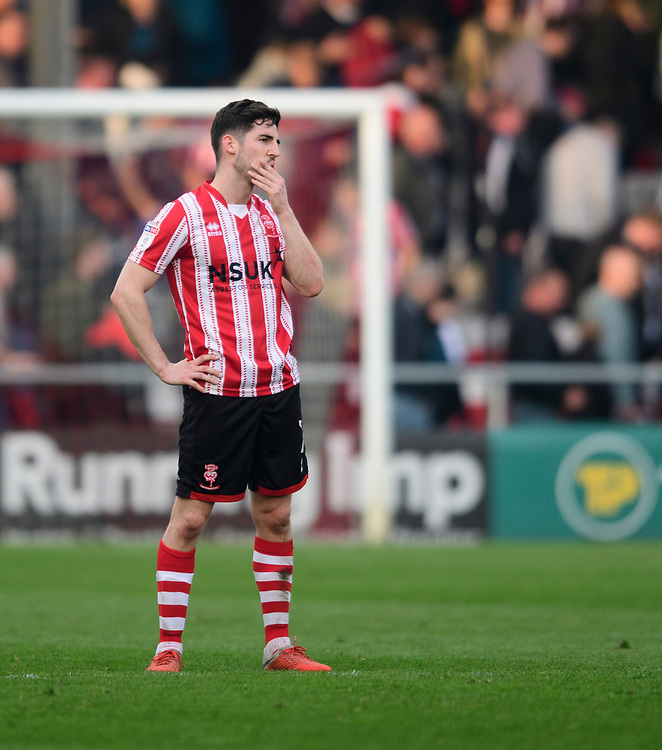 Lincoln City's Tom Pett at the end of the game<br /> <br /> Photographer Chris Vaughan/CameraSport<br /> <br /> The EFL Sky Bet League Two - Lincoln City v Macclesfield Town - Saturday 30th March 2019 - Sincil Bank - Lincoln<br /> <br /> World Copyright © 2019 CameraSport. All rights reserved. 43 Linden Ave. Countesthorpe. Leicester. England. LE8 5PG - Tel: +44 (0) 116 277 4147 - admin@camerasport.com - www.camerasport.com