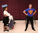 Aubrey E. Jones and Dominic Wintz during the Children's Theatre of Cincinnati presentation for composer Charles Strouse of 'Superman The Musical' at Ripley Grier Studios on June 8, 2018 in New York City.