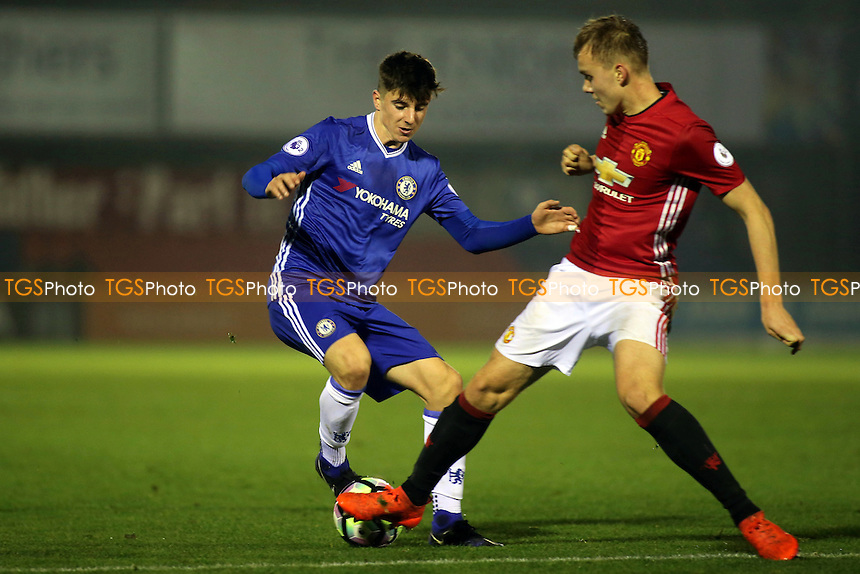 Charlie Scott of Manchester United tackles Chelsea's Mason Mount during Chelsea Under-23 vs Manchester United Under-23, Premier League 2 Football at the EBB Stadium on 9th December 2016