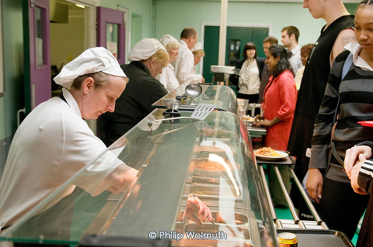 Lunchtime in the canteen, Barking Abbey School, London