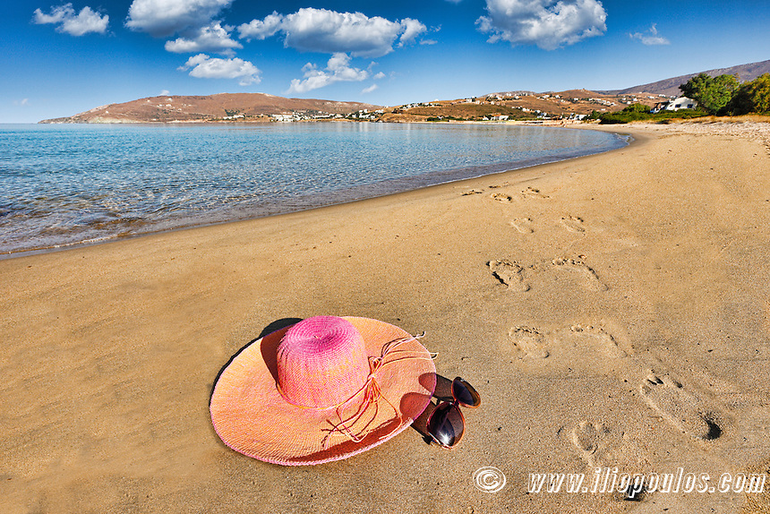 Footsteps on the beach of St. Peter in Andros, Greece