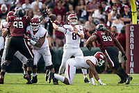 Hawgs Illustrated/BEN GOFF <br /> Austin Allen, Arkansas quarterback, throws a pass in the second quarter against South Carolina Saturday, Oct. 7, 2017, during the game at Williams-Brice Stadium in Columbia, S.C.