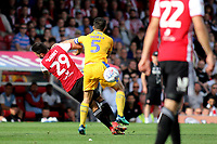 Sam Morsy of Wigan was sent off after this challenge on Brentford's Yoann Barbet during Brentford vs Wigan Athletic, Sky Bet EFL Championship Football at Griffin Park on 15th September 2018