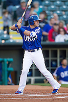 Oklahoma City Dodgers second baseman Enrique Hernandez (6) at bat against the Nashville Sounds at Chickasaw Bricktown Ballpark on April 15, 2015 in Oklahoma City, Oklahoma. Oklahoma City won 6-5. (William Purnell/Four Seam Images)