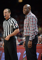 NWA Democrat-Gazette/ANDY SHUPE<br /> Arkansas coach Mike Anderson speaks to a game official against LSU Friday, Jan. 11, 2019, during the second half of play in Bud Walton Arena in Fayetteville. Visit nwadg.com/photos to see more photographs from the game.