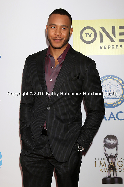 LOS ANGELES - FEB 5:  Trai Byers at the 47TH NAACP Image Awards Arrivals at the Pasadena Civic Auditorium on February 5, 2016 in Pasadena, CA