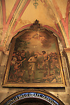 Israel, Jerusalem, a painting at the Church of St. John the Baptist in Ein Karem depicting the baptism of Jesus