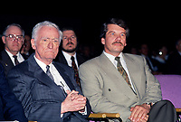 Montreal. CANADA -   April 4, 1992  File Photo -<br /> <br /> Claude Ryan, Minister , Municipal Affaires, Quebec (L) and <br /> Jean Dore, Montreal Mayor attend the Union des Municipalites convention.<br /> <br /> File Photo : Agence Quebec Pressse - Pierre Roussel