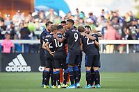 SAN JOSE, CA - SEPTEMBER 30: San Jose Earthquakes huddle during a Major League Soccer (MLS) match between the San Jose Earthquakes and the Seattle Sounders on September 30, 2019 at Avaya Stadium in San Jose, California.