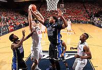 Duke center Jahlil Okafor (15) and Virginia forward/center Mike Tobey (10) during an ACC basketball game Jan. 31, 2015 in Charlottesville, VA. Duke won 69-63.