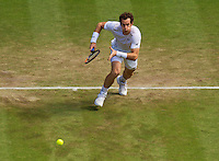 England, London, Juli 06, 2015, Tennis, Wimbledon, Andy Murray (GBR) charges the net in his match against Karlovic<br /> Photo: Tennisimages/Henk Koster