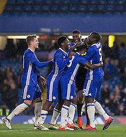 Teammates celebrate after Chelsea's 13-12 penalty shootout win as a record 34 spot-kicks are taken during the The Checkatrade Trophy match between Chelsea U23 and Oxford United at Stamford Bridge, London, England on 8 November 2016. Photo by Andy Rowland.