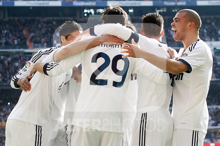 Real Madrid's Karim Benzema, Raphael Varane, Alvaro Morata, Sergio Ramos and Pepe celebrate goal during La Liga match.March 02,2013. (ALTERPHOTOS/Acero)