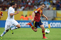 16.06.2013 Recife, Brazil. Roberto Soldado against Alvaro Gonzalez during the Confederations Cup Group B game between Spain and Uruguay from Arena Pernambuco.
