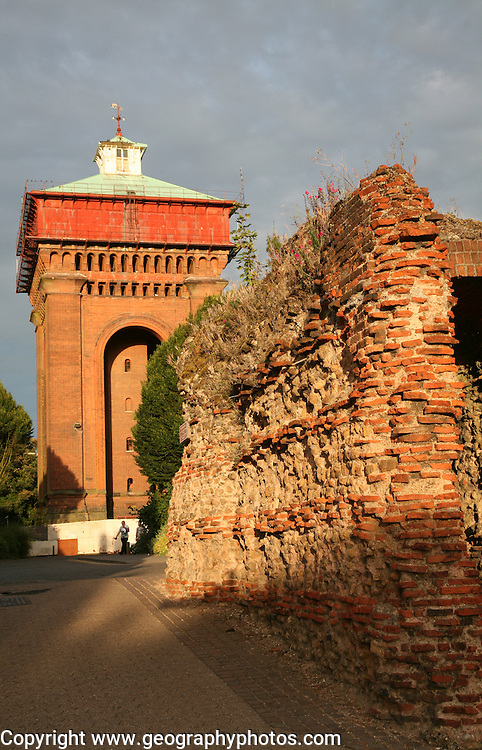 The Balkerne Gate, the largest surviving Roman gateway in Britain, Colchester, Essex, England with Jumbo water tower behind.