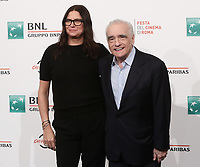Il regista statunitense Martin Scorsese posa con la produttrice statunitense Emma Tillinger Koskoff durante il photocall per la presentazione del suo film 'Irishman' alla 14^ Festa del Cinema di Roma all'Aufditorium Parco della Musica di Roma, 21 ottobre 2019.<br /> US director Martin Scorsese poses with US producer Emma Tillinger Koskoff for the photocall to present the movie 'Irishman' during the 14^ Rome Film Fest at Rome's Auditorium, on 21 October 2019.<br /> UPDATE IMAGES PRESS/Isabella Bonotto