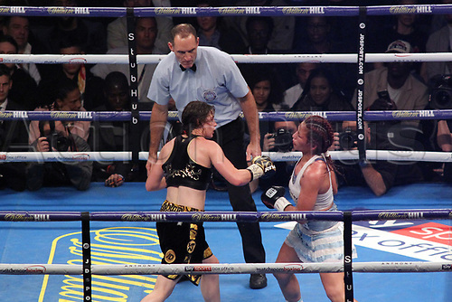 28th October 2017, Principality Stadium, Cardiff, Wales; World Heavyweight Boxing, Anthony Joshua versus Carlos Takam; Undercard fight; Katie Taylor Versus Anahi Sanchez for the WBA Womens Lightweight world championship; Katie Taylor connects with a right hook, sending Anahi Sanchez head back