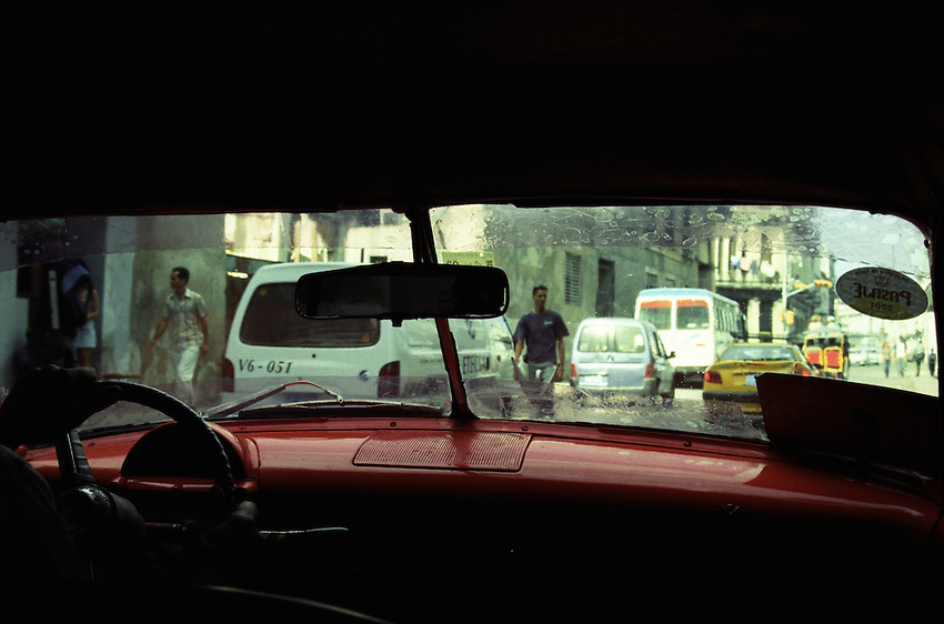 Old Havana from within the back of an old 55' Chevy Bellar Taxi