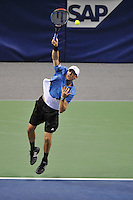 23 February 2008: Former Stanford tennis player Mike Bryan during their SAP Open semi-final win, 6-2, 7-6, over Steve Darcis and Kristof Vliegen of Belgium at the HP Pavilion in San Jose, CA.