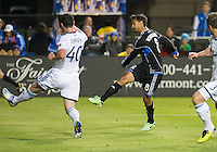 SANTA CLARA, CA - April 6, 2013: San Jose forward Chris Wondolowski (8) shoots his goal shot during the San Jose Earthquakes vs Vancouver Whitecaps FC game at Buck Shaw Stadium in Carson, California. Final score San Jose Earthquakes 1, Vancouver Whitecaps FC 1.