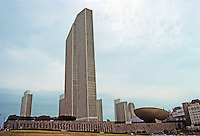 "Albany: Empire State Plaza from East Side. To left, Erastus Corning Tower Building; to right, the ""Meeting Center"", better known as The Egg.  Photo '88."