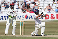 Ryan ten Doeschate of Essex hits 4 runs for Essex as Steven Davies looks on from behind the stumps during Essex CCC vs Somerset CCC, Specsavers County Championship Division 1 Cricket at The Cloudfm County Ground on 26th June 2018