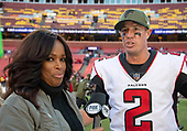 Atlanta Falcons quarterback Matt Ryan (2) is interviewed by Fox Sports reporter Pam Oliver following the game against the Washington Redskins at FedEx Field in Landover, Maryland on Sunday, November 4, 2018.  The Falcons won the game 38-14.<br /> Credit: Ron Sachs / CNP